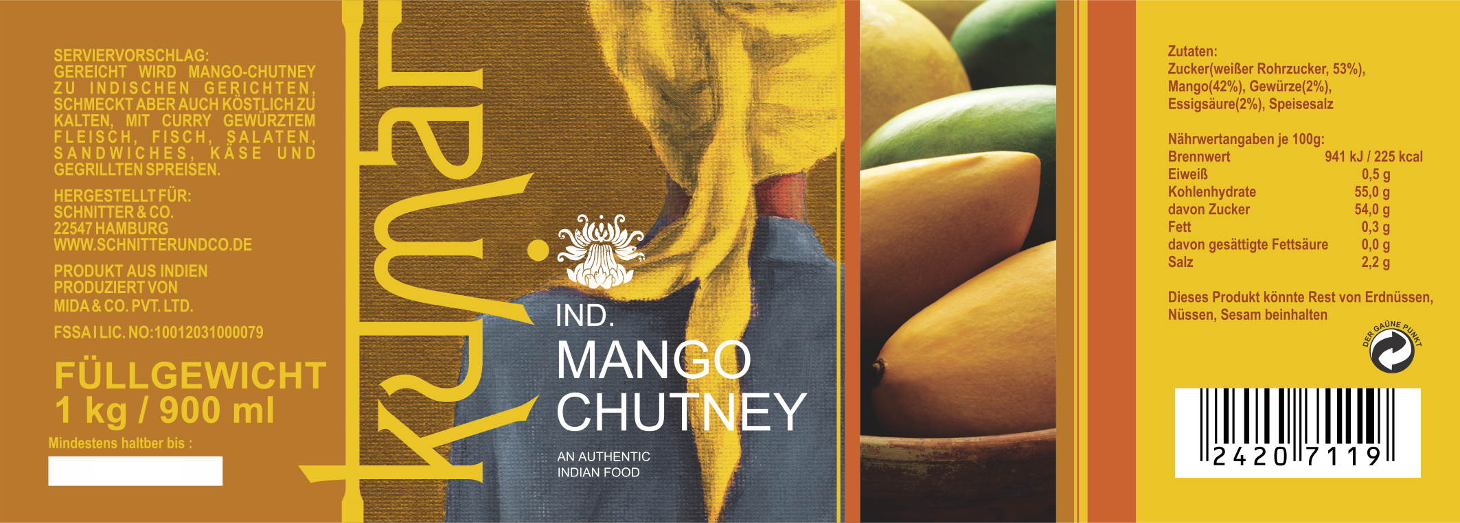 Kumar Mango Chutney Label (1 Kg)